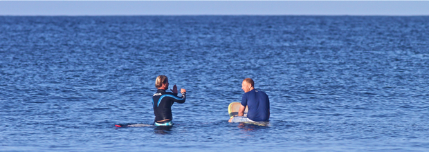 Private Coaching In Water - Pureline Surf