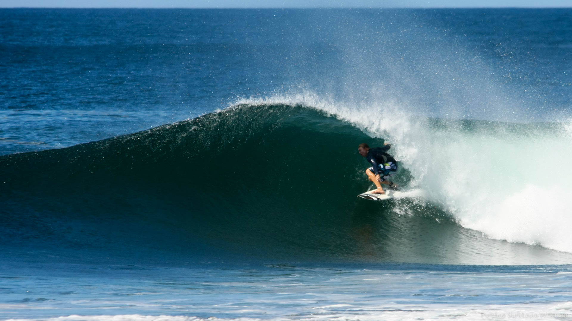 A dreamy blue wave in Nosara Costa Rica. A popular destination for private surf coaching with Pureline Surf.
