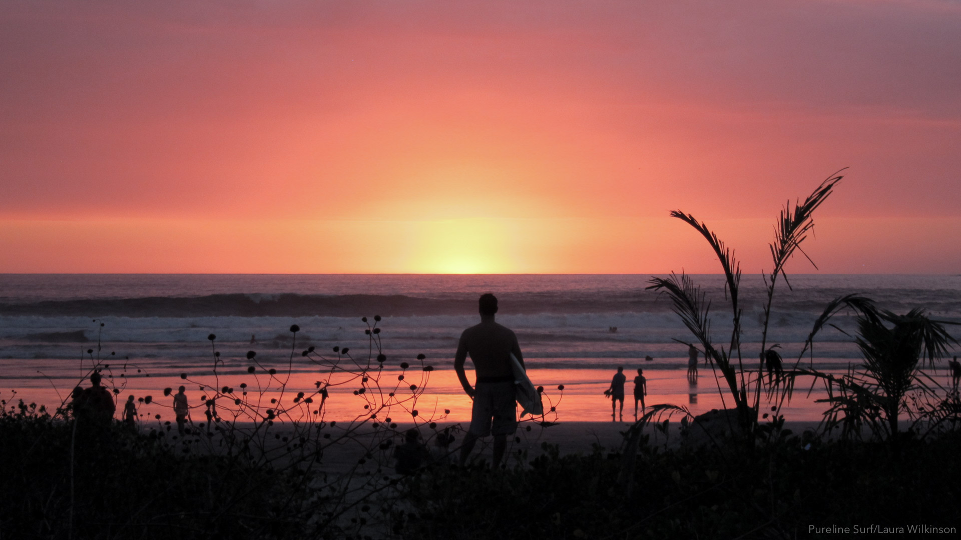 A lone surfer standing on Playa Guiones at sunset in Nosara, Costa Rica; a great beach for progression your surfing with Pureline Surf.