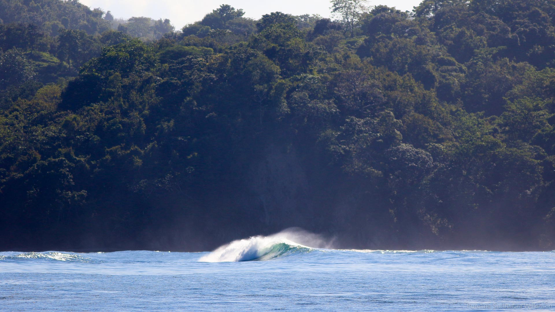 A peeling left-hand reef break with jungle in the background, one of Pureline's coaching locations.