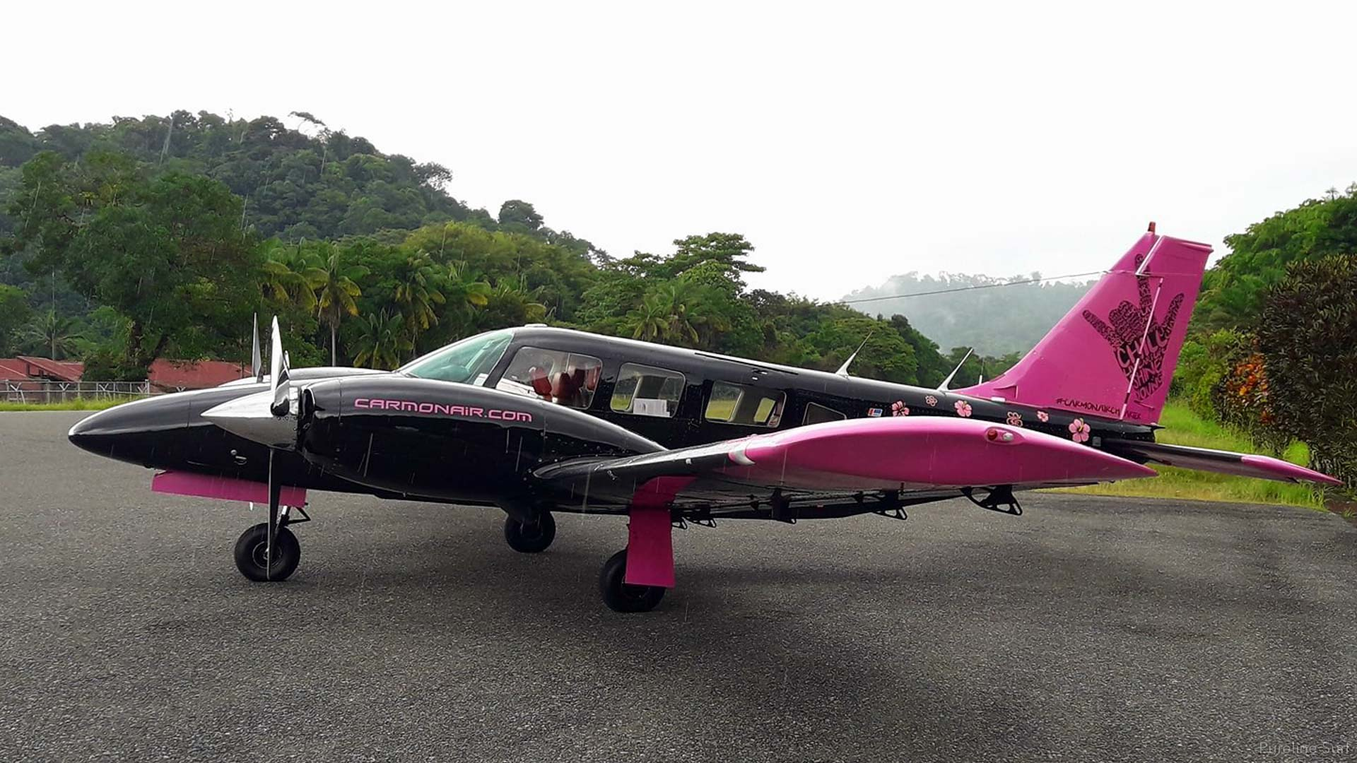 One of the small charter planes that Pureline uses for Strike Missions, on a small rural runway in Nosara, Costa.