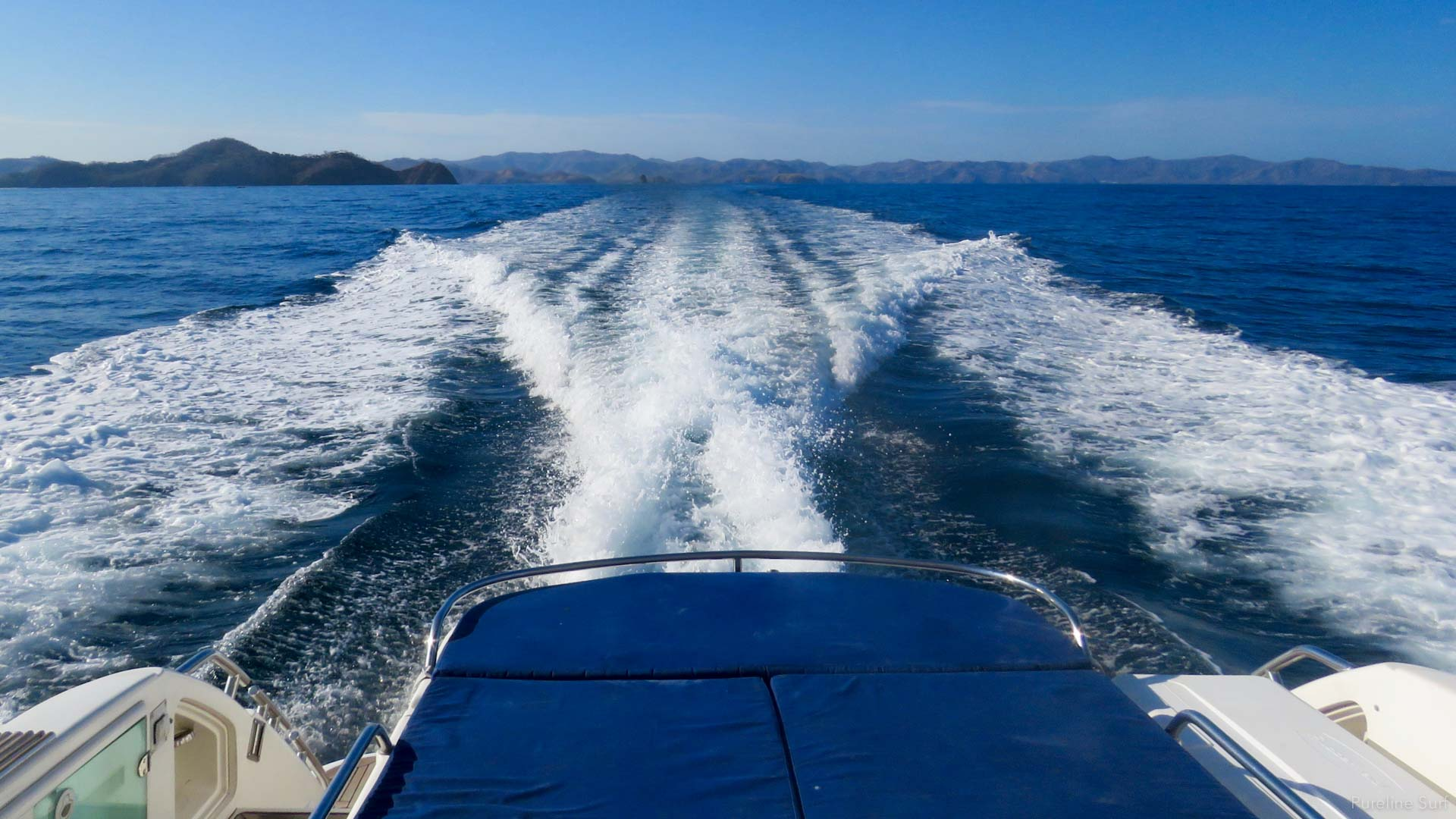 View from the stern of a luxury boat used by Pureline Surf on our Costa Rican Surf Trips.