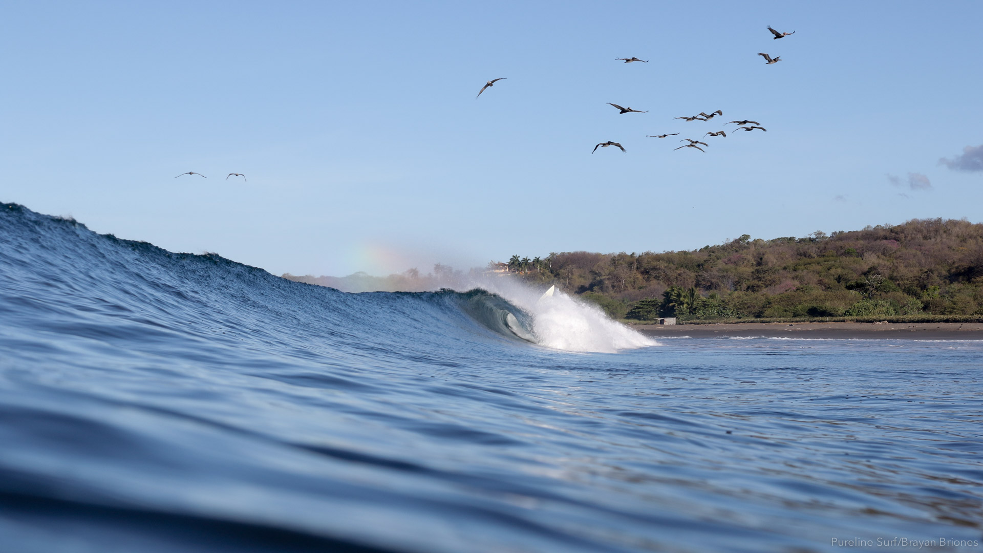 An inwater photograph of a peeling right-hand wave in Costa Rica; a great beach for progression your surfing with Pureline Surf.