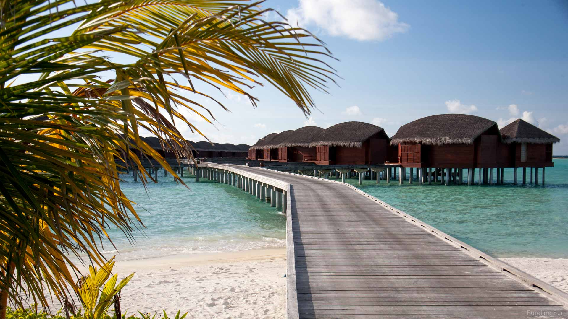 Overwater bungalows at a 6 star resort in the Maldives.
